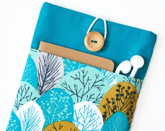 Kindle Cover, Kindle Oasis Case, Kindle Voyage Sleeve with Pocket for Paperwhite Ereaders and Tablets - Teal and Mustard Trees