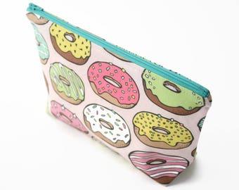 Doughnut Makeup Bag, Pink Cosmetic Bag, Kawaii Food Zipper Pouch, Cute Donut Make Up Bag, Travel Gift, Gift For Her