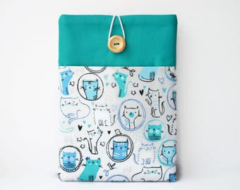 Cats iPad Pro 10.5 Cover, Teal iPad Pro 12.9 Case, Padded Sleeve with Pocket for NEW iPad 2017, iPad Air 2 and iPad Pro 9.7 Tablet