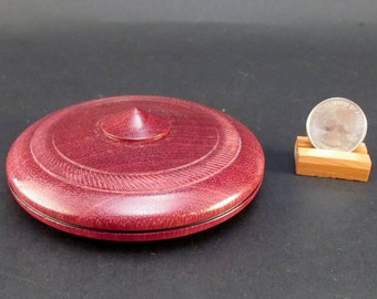 Box Lidded Container Purpleheart wood clamshell low profile hand turned jewelry