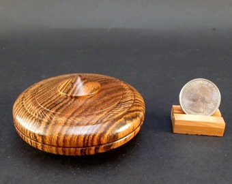 Box Lidded Container Bocote wood clamshell low profile hand turned jewelry