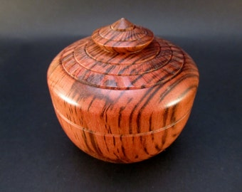 Box Lidded Container Australian Tiger Myrtle hand turned