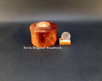 Box Lidded Container Hand turned out of Chechen, Caribbean Rosewood with a Maple Burl insert, jewelry