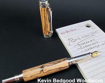 Pen Fountain Spalted Pecan Custom Fine Writing Instrument, wood pen
