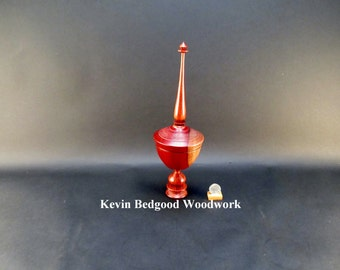 Box Lidded Container Borneo Rosewood with African Bubinga pedestal and finial Chalice style turned jewelry Stash