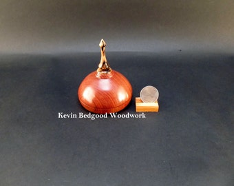 Box Lidded Container Hand turned out of Chechen Rosewood with a finial made out of Spalted Tamarind, jewelry