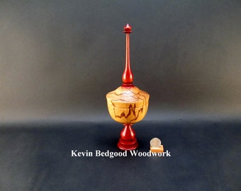 Box lidded container Marblewood with Bloodwood pedestal and finial Chalice style turned  jewelry Stash