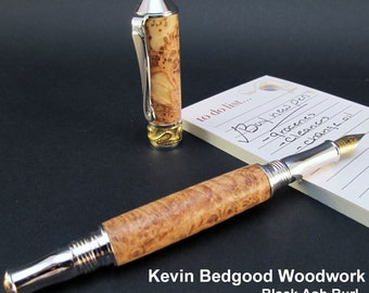 Pen custom Black Ash Burl Custom Fountain Pen, Fine Writing Instrument, wood pen