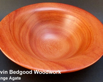 Bowl Wood, Orange Agate, turned wood