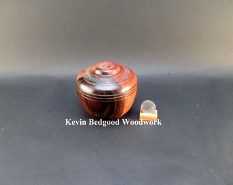 Box Lidded Container Macassar Ebony wood hand turned Jewelry stash two tone color