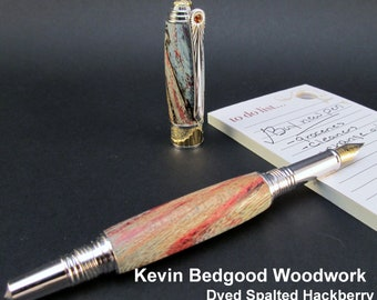 Pen Fountain Custom Dyed Spalted Hackberry Fine Writing Instrument, wood pen