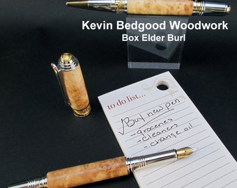 Pen set Custom, Box Elder Burl, Fine Writing Instrument, wood pen