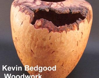 Vase bowl Maple burl, natural edge, turned bowl