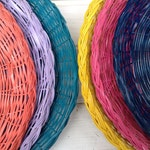 SIX Wicker Paper Plate Holders Picnic Colorful Painted Upcycled. Summer Outdoor Dining. Navy teal lavender coral yellow raspberry