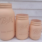 Blush Pink Pale Color Painted Mason Jar -- Set of 3 Shabby Chic Vases in half gallon, quart & pint sizes -- wedding decor (CB055)