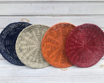 Wicker Paper Plate Holders FOUR Picnic Colorful Painted Upcycled, Navy, Burgundy, Orange, Almond, Summer Outdoor Dining
