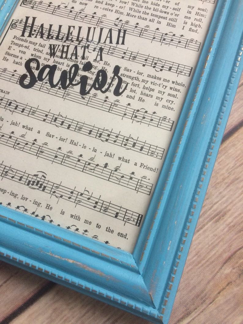 Church Music Framed Hymn Page Hallelujah What A Savior 084.1 Home Decor Our Great Savior