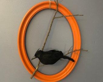 Fall Halloween Wreath Raven Branch Orange Door Decor Nevermore