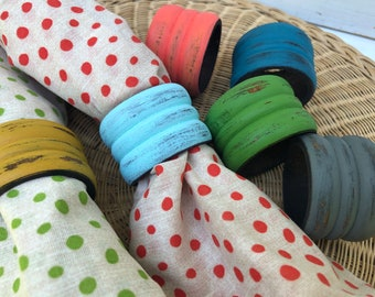 6 Napkin Rings, colorful napkin rings, wood napkin rings, Painted, eclectic, Boho, kitchen, housewares, hostess gift, 89