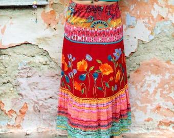 M colorful summer flowers folk long skirt hippie boho recycled