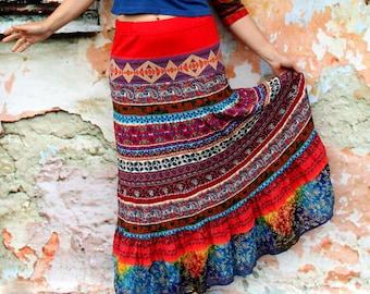 M-M/L colorful summer ethnic bohemian folk long skirt hippie boho recycled