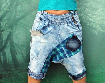 M-L Crazy knee yoga denim pants boro inspired appliqued recycled patchwork hippie boho style