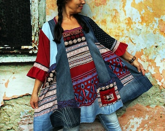 Plus size L-XXL Fantasy embroidered ethnic patchwork and blue  denim recycled lagenlook hippie boho top