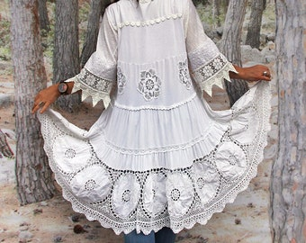 Plus size L-L/XL White light shabby chic crochet and lace recycled dress top very boho hippie lagenlook style