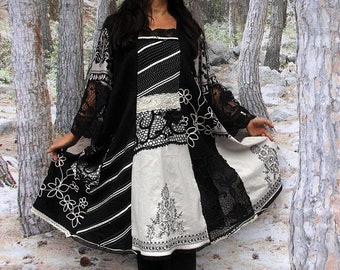 Big size plus size L-XXL Embroidered lace partly transparent romantic patchwork recycled dress hippie boho  shabby chic lagenlook