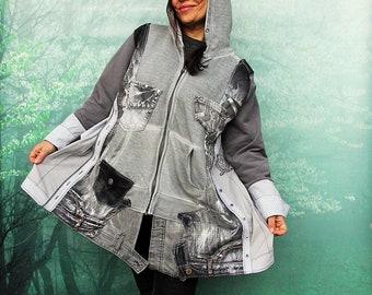 L-XXL Crazy silver denim and tracksuit textile jacket coat hippie boho style