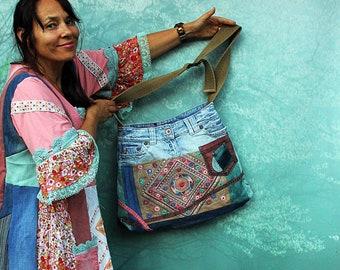 Crazy fantasy  embroidered India sari and blue denim hippie bag recycled ethnic hippie boho