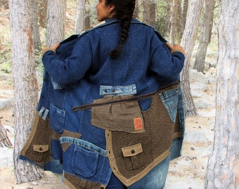 M-L Boro denim,  cotton jersey and herringbone fabric recycled and up cycled  jacket coat hippie boho