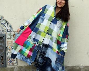 L-XXL Crazy denim and tracksuit textile patchwork poncho coat hippie boho style