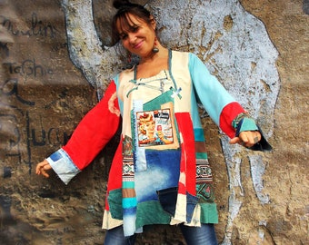 Plus size L-XXL Retro pop art printed and  denim patchwork  recycled hippie boho dress top