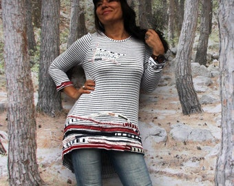 M-L Sailor striped appliqued recycled sport sweater top hippie boho