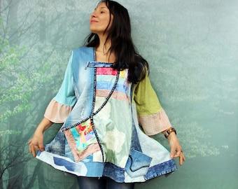L-XL Pastel jacquard romantic and denim patchwork  recycled hippie boho dress top