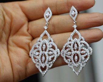 Chandelier earrings etsy silver crystal bridal earring bridal jewelry chandelier earring crystal wedding earrings aloadofball Images