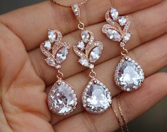 b259674226e7 set de joyas de oro rosa pendiente nupcial set joyas de boda set joyería  nupcial