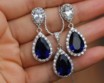 sapphire jewelry bridal blue jewelry set wedding blue jewelry set sapphire jewelry set