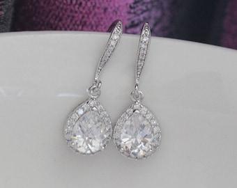 zirconia bridal earring , wedding earring , bridemaids earring , Classic Drop Earrings