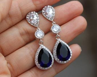 blue wedding earrings sapphire earrings  bridal earrings sapphire jewelry