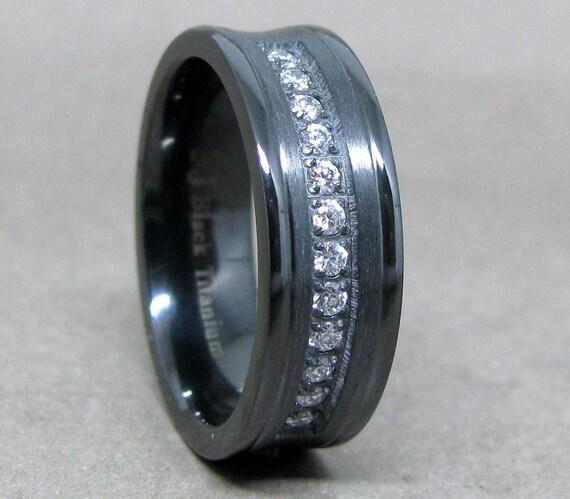 Herren 75 Mm Schwarz Titan Cz Hochzeitsband Titan Ring Etsy