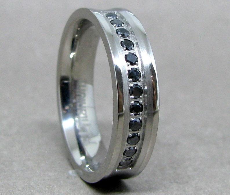 defbbb34baa19 Mens 6mm Titanium Black Diamond Wedding Band, Titanium Ring, Wedding Ring,  Engagement Ring, Promise Ring, Rings for Men, Mens Ring