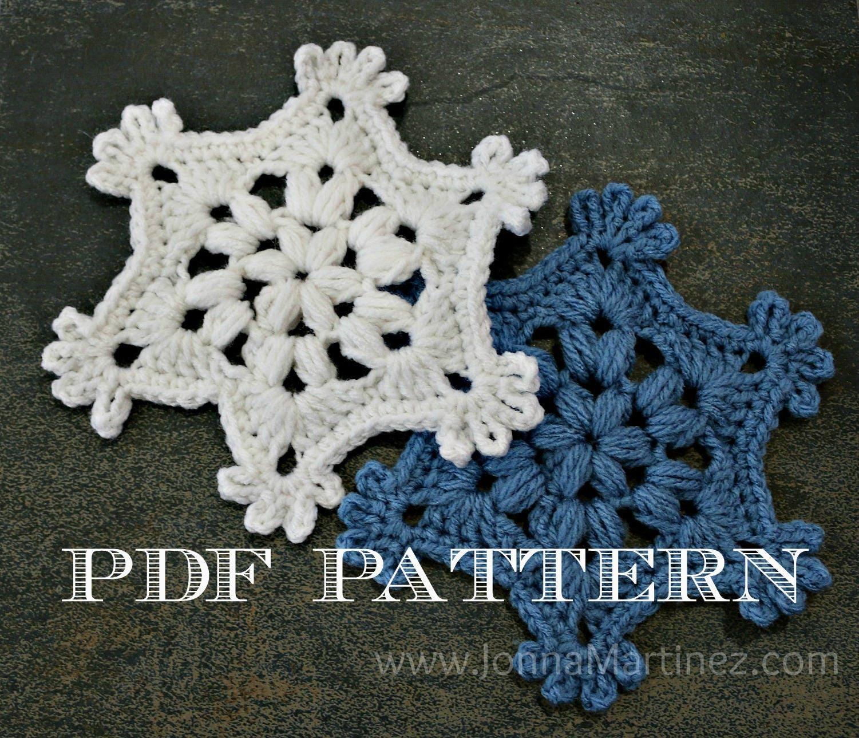 Easy Crochet Puff Stitch Snowflake Pattern Pdf Crochet Etsy