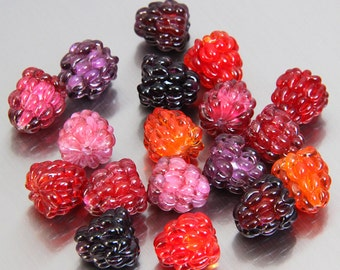 9 colors of glass lampwork raspberry beads