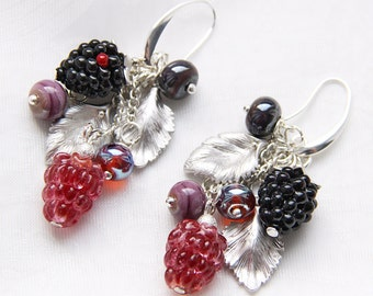 Glass lampwork wild berries long earrings with silver color leaves. Crimson and black colors.