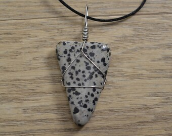 Dalmation Jasper Stone Wire Wrapped Pendant