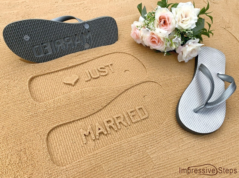 Just Married Flip Flops for Newlyweds image 0
