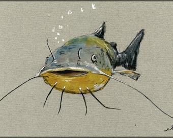 PRINT-Catfish fish, catfish art, catfish print, catfish painting, catfish fishing art , fish decor, fishing sport - Art Print by Juan Bosco