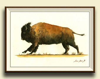 PRINT-American Buffalo - Running American Bison Buffalo- north american animal forest nursery portrait - Art Print by Juan Bosco